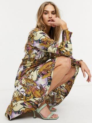 WOMEN Y.A.S midi dress with square neck and shirred body in floral print