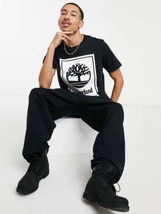 Timberland YC Stack Logo t-shirt in black