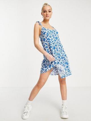 WOMEN New Look mini cheesecloth sun dress in blue floral print