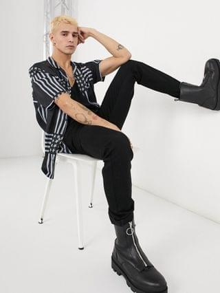 AllSaints union stars and stripes shirt in black