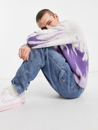 knitted oversized sweater with flame design in lilac