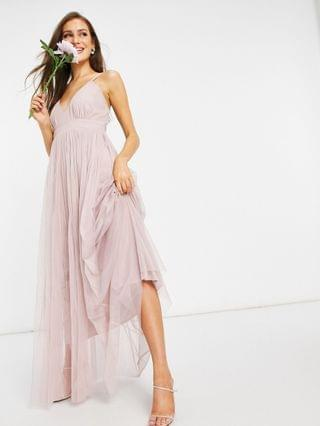 WOMEN Anaya With Love Bridesmaid tulle plunge front maxi dress in pink