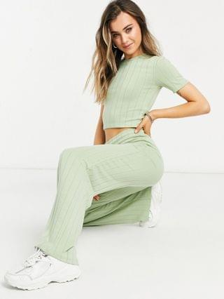WOMEN Stradivarius recycled polyester rib cropped tshirt and trouser co-ord in green