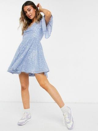 WOMEN Forever Unique bat wing wrap sequin mini dress in blue