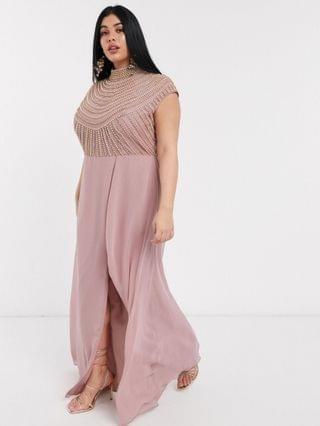 WOMEN Curve maxi linear embellished bodice dress with high neck and wrap skirt