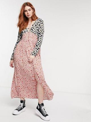 WOMEN Reclaimed Vintage Inspired button front long sleeve midi in mixed print