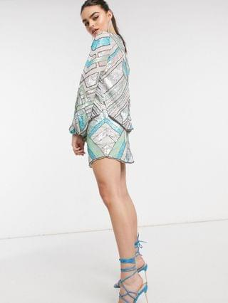 WOMEN aztec-style multi-colored embellished long sleeve top two-piece