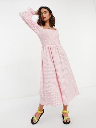 WOMEN New Look shirred midi dress in pink gingham