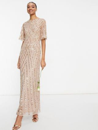 WOMEN Maya flutter sleeve all over patterned sequin maxi dress in taupe blush