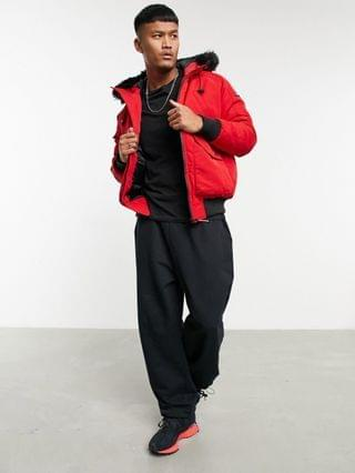 Good For Nothing bomber jacket in red with faux fur hood