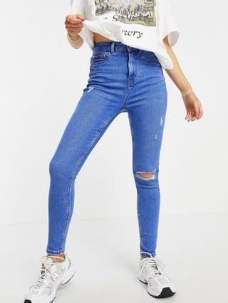 WOMEN New Look Petite ripped disco jeans in blue