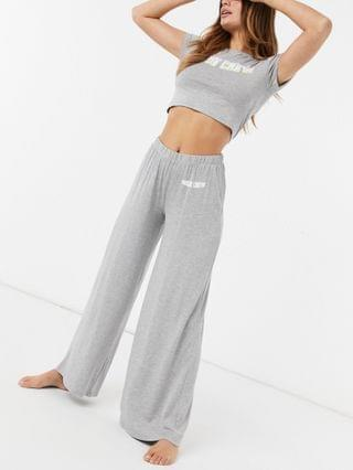 WOMEN Missguided tee and pants pajama set with bride slogan in gray