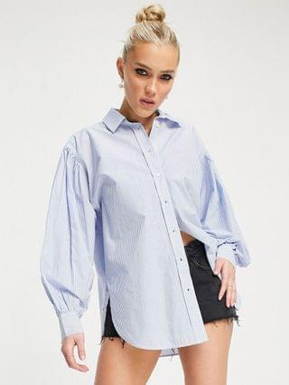 WOMEN New Look poplin shirt in blue stripe