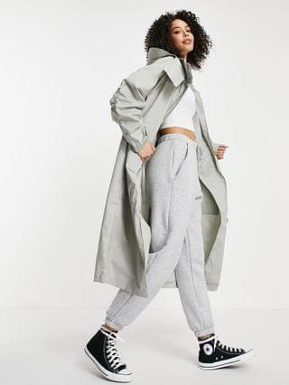 WOMEN Tall double layer parka coat in gray