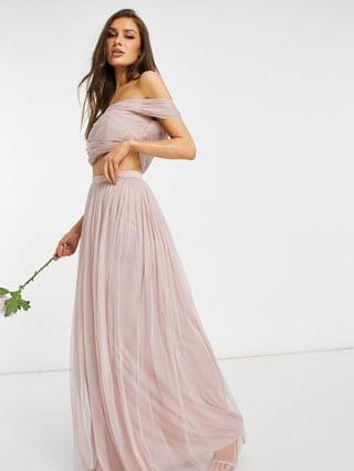 WOMEN Anaya With Love Bridesmaid tulle off shoulder wrap detail crop top and tulle max