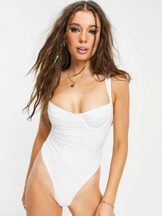 WOMEN Fashion Union broderie anglaise underwire swimsuit in white