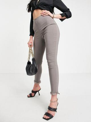 WOMEN Vesper Tall slim pants with ruffle detail in brown - part of a set