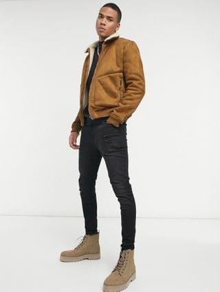 Pull&Bear faux suede jacket with shearling collar in tan