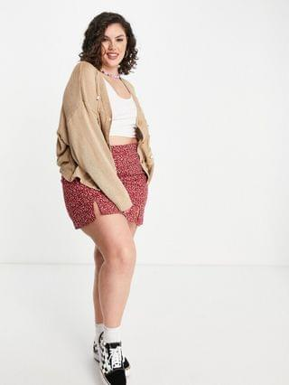 WOMEN Daisy Street Plus oversized cardigan with bow applique in cable knit