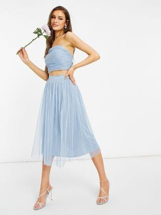 WOMEN Anaya With Love Bridesmaid tulle bandeau crop top and tulle midi skirt set in