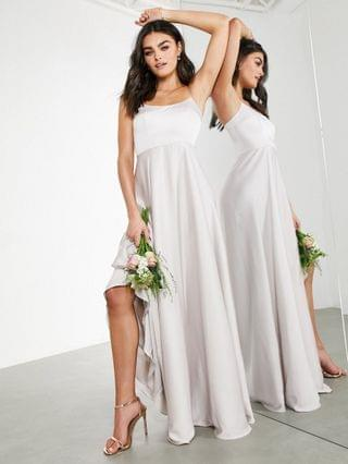 WOMEN EDITION satin cami maxi dress with square neck in pale silver