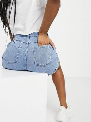 WOMEN Urban Bliss exposed front button shorts in mid wash
