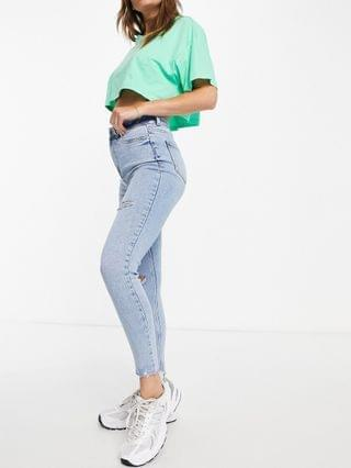 WOMEN New Look ripped disco jeans in light blue