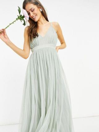 WOMEN Anaya With Love Bridesmaid tulle plunge front maxi dress in sage