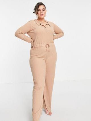 WOMEN In The Style Plus x Olivia Bowen ribbed jumpsuit with collar detail in stone