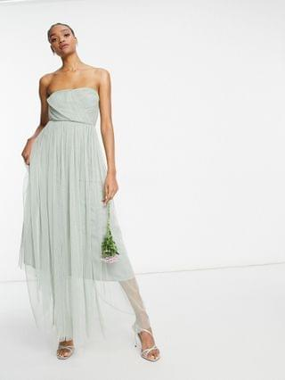 WOMEN Anaya With Love Bridesmaid tulle bandeau maxi dress in navy
