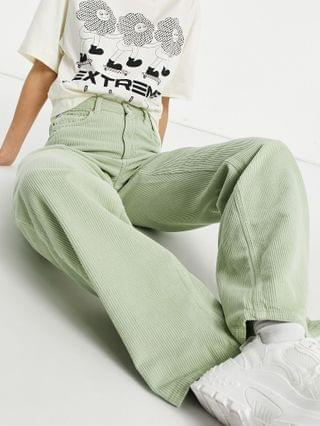WOMEN Tall high rise relaxed dad jeans in sage corduroy