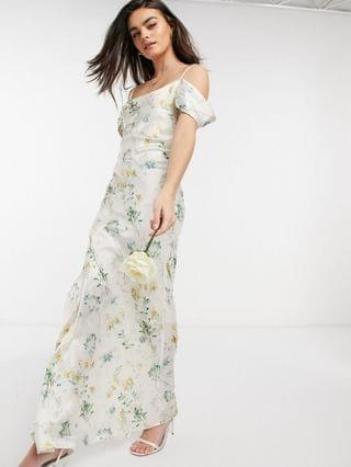 WOMEN Hope & Ivy bridesmaid cold shoulder cowl neck maxi dress in ivory based floral