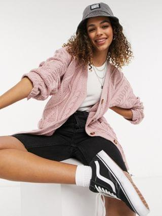 WOMEN Reclaimed Vintage Inspired cable cardigan in rose