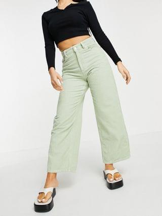 WOMEN Petite high rise relaxed dad jeans in sage corduroy