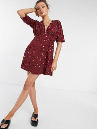 WOMEN tea dress with horn buttons in burgundy base floral