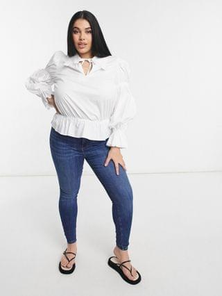 WOMEN Fashion Union Plus shirt with lace edge collar in poplin