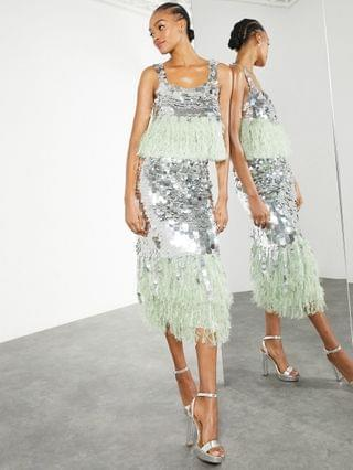 WOMEN EDITION paillette sequin midi skirt with faux-feather hem in silver and green