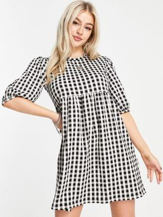 WOMEN New Look Petite check jersey smock dress in black
