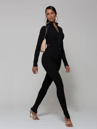 WOMEN WMNSwear plunge zip-front long sleeve top and flared pant co-ord in black