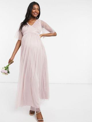 WOMEN Anaya With Love Maternity Bridesmaid tulle flutter sleeve maxi dress in pink