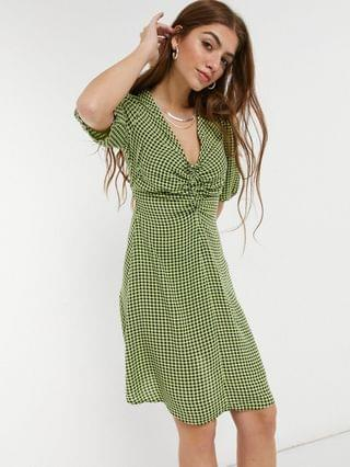 WOMEN New Look ruched bust mini tea dress in green gingham
