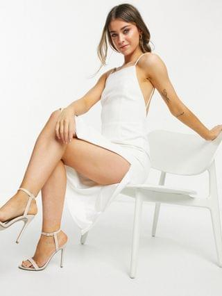WOMEN Bardot high neck backless midi dress with thigh slit in ivory