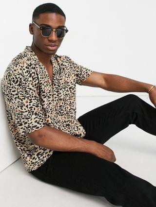 New Look short sleeve leopard print shirt in stone