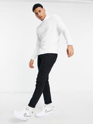 muscle fit turtleneck sweater in white