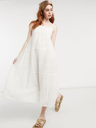WOMEN Bardot cami strap broderie midi smock dress in ivory