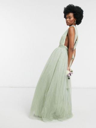 WOMEN tulle plunge maxi dress with bow back detail in sage