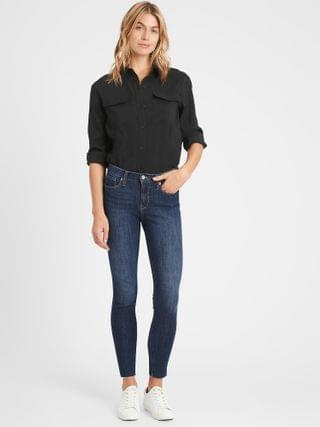 WOMEN Mid-Rise Skinny Ankle Jean with Raw Hem