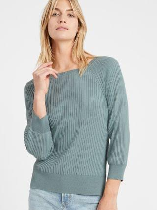 WOMEN Ribbed Boat-Neck Sweater Top
