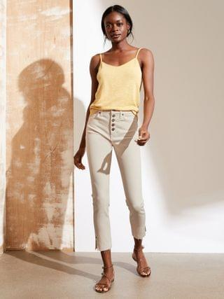 WOMEN High-Rise Skinny Button-Fly Jean with Slit Hem
