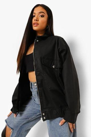 WOMEN Petite Coated Denim Oversized Bomber Jacket